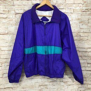 Vintage Nylon Windbreaker Jacket 90s Purple Teal L